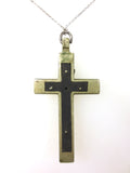 "Antique Sterling Silver Priest's Crucifix Pendant 2 1/8"" Long, Wood Inlay, 13gr"