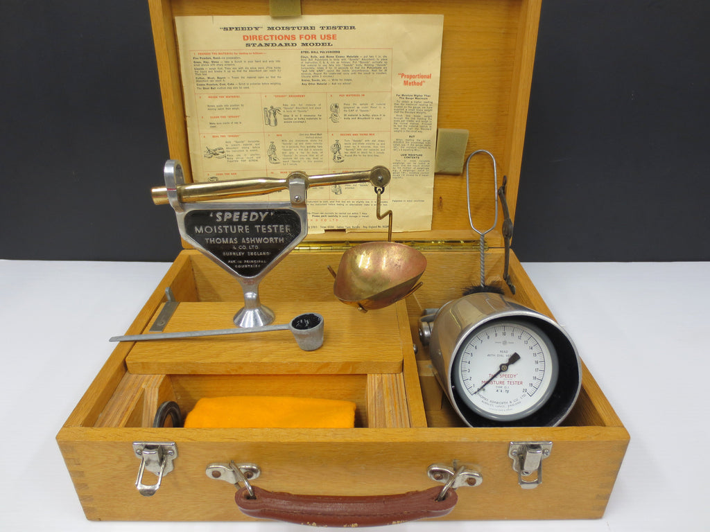 Vintage Speedy Moisture Tester Type D1, Large Soil Tester, Wood Case, MANUAL