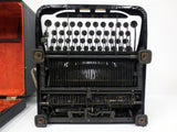Antique 1930s Royal O Portable Typewriter, Glossy Black, Glass keys, with Case