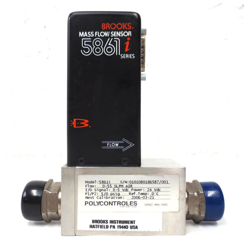 Brooks Air Mass Flow Sensor 5861i Series Flow Rate 55 SLPM with 586li Base