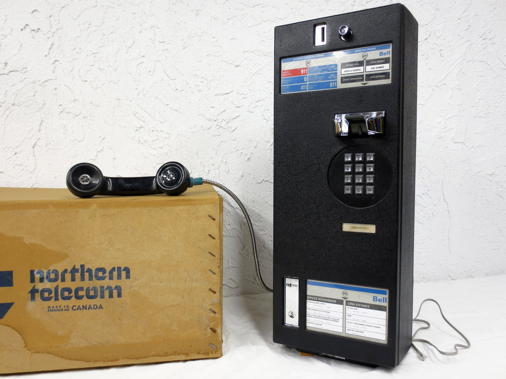 Vintage Northern Telecom Pay Phone, Bell City Telephone Booth, Box, Works, Key