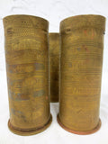 WWI 1914 Three Trench Art Brass Shells 92 mm, Patronenfabrik Karlsruhe