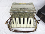 Vintage Alvari Germany Piano Accordion with Case, Mother of Pearl, 12 Bass