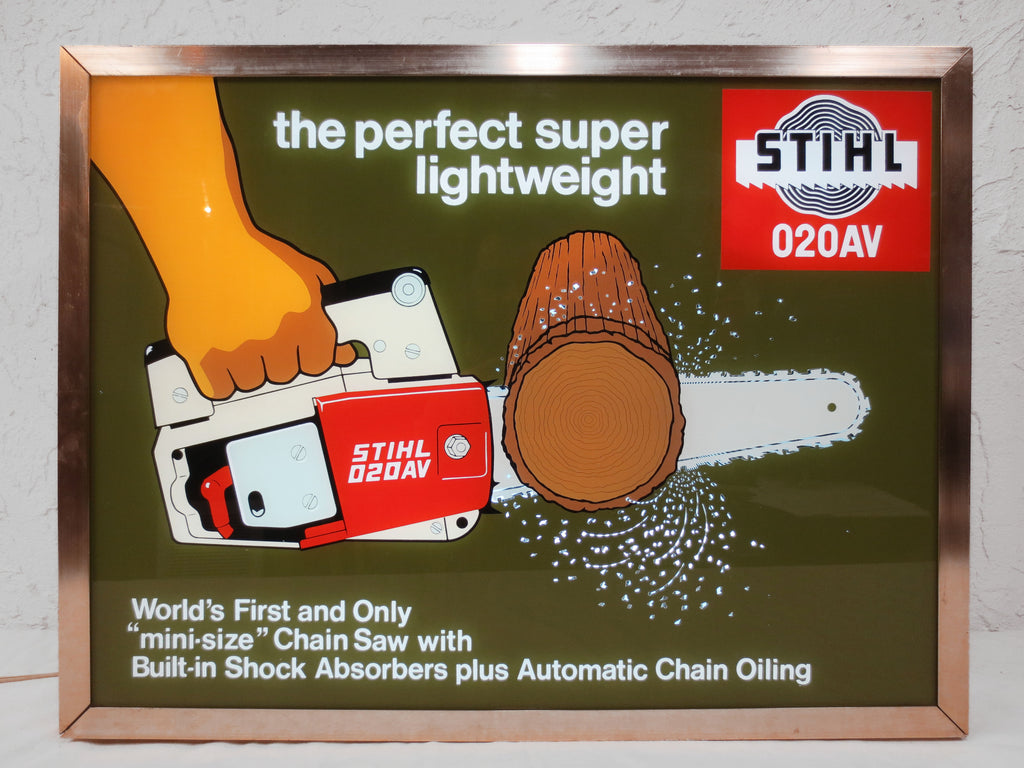 "Vintage Stihl Chainsaw Lighted Sign 25x19"", Animated Light Advertising"