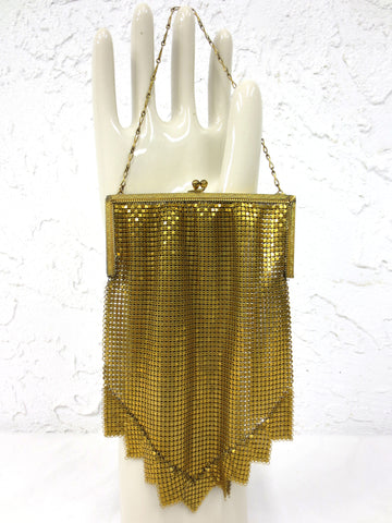 1920's Art Deco Gold Mesh Evening Purse by Whiting and Davis