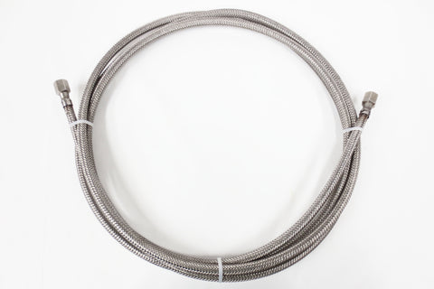 "15' Feet Long 316L Grade 1/4"" Stainless Steel Braided Hose by SSP, Female to Female"