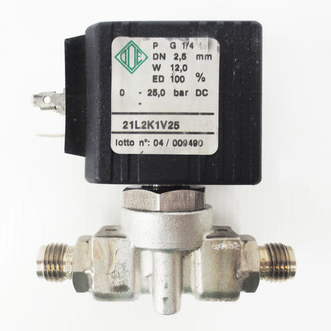"ODE Direct Acting Solenoid Valve Model 21L2K1V25, G 1/4"" Pipe, 0-25 bar DC, 12W"