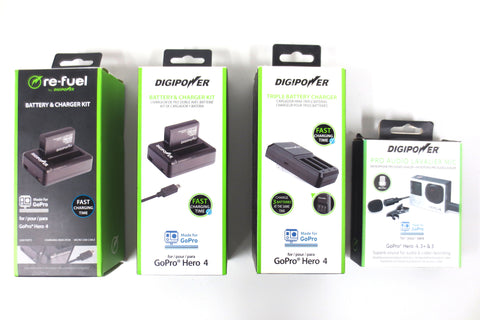 New DigiPower Re-Fuel 2 Batteries 3 Chargers 1 Microphone Lavalier Mic GoPro 3-4