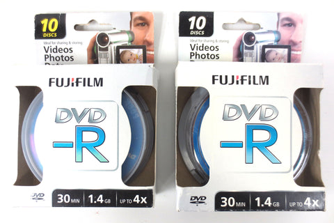 20 New Fujifilm DVD-R Video Photo Data Recordable Disks 30min 1.4Gb Up to 4X