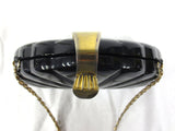 Vintage Sea Shell Purse by Farnell Paris, Black & Gold Rigid Handbag, Long Chain