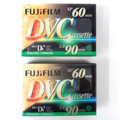 2 New Fujifilm Mini DV DVC Digital Video Cassette for Camera Camcorder SP 60 min
