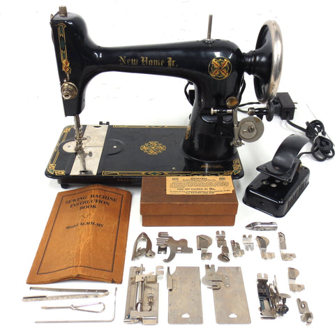 Vintage Westinghouse New Home Jr Sewing Machine w/ Manual, 18 Attachments, Pedal