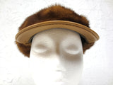 Vintage Mink Fur and Leather Cap Hat Light brown, Size 7 Women Fall Winter