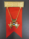 Masonic Jewish Hoshen Anointed High Priest Medal Brooch, Red & Gold