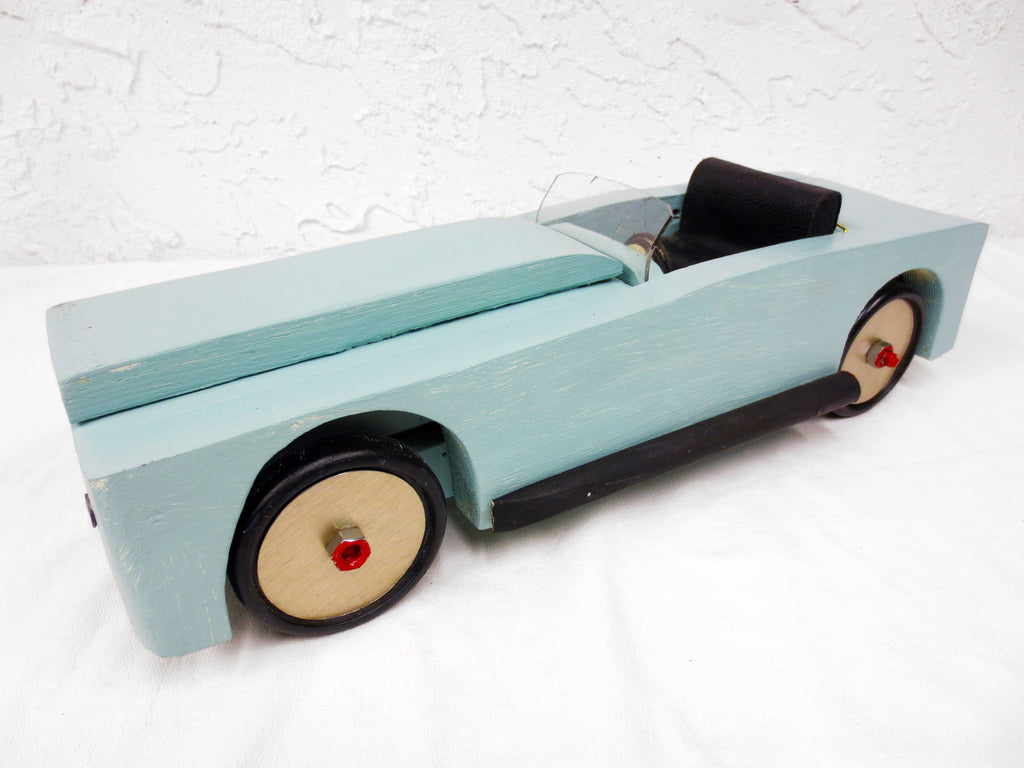 "17"" Long Vintage Wood Sport Car with Leather Seat, Folk Art Toy, Turquoise"