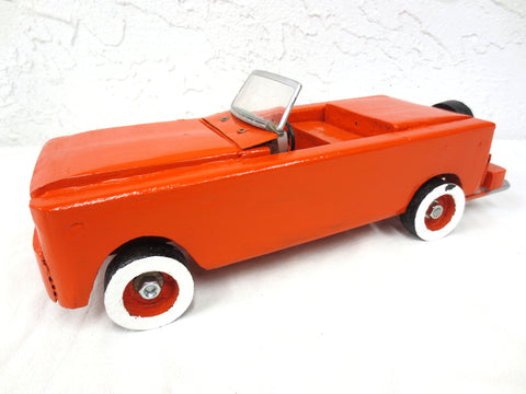 "14"" Long Vintage Wood Sport Car with Spare Tire, Folk Art Toy, Orange"