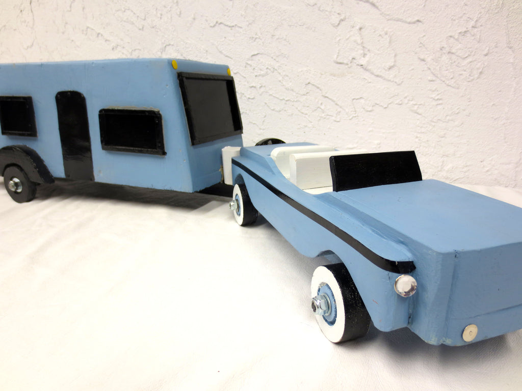 "35"" Long Vintage Wood Car and Camper Trailer Home, Folk Art Toy, Blue"