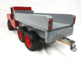 "26"" Long Vintage Service Truck with Air Intake on Hood, Folk Art Toy, Red"