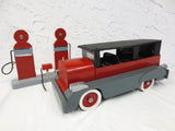 "15"" Long Vintage Wood Car Limousine with Gas Station, Folk Art Toy, Red Grey"