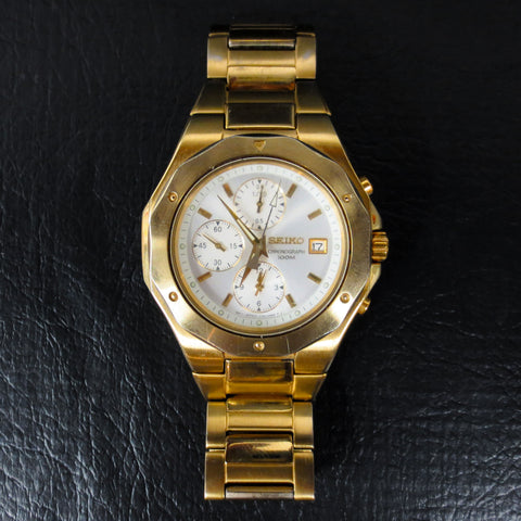 Seiko Chronograph Watch Large 44mm Case 10bar Model 7T92 3 Subdials Gold Tone