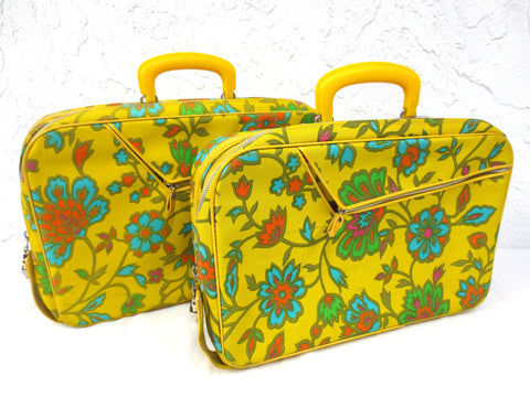 "Pair of Vintage Suitcases made in Japan 16"" X 11"", Bright Yellow with Flowers"