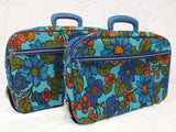 "Pair of Vintage Suitcases made in Japan 18"" X 12"", Blue with Multicolored Flower"