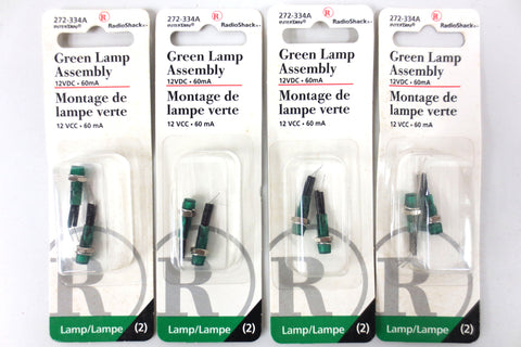 8 RadioShack 12VDC 60mA Green Jumbo Lamp Assembly 272-334A, Model Railroad Train