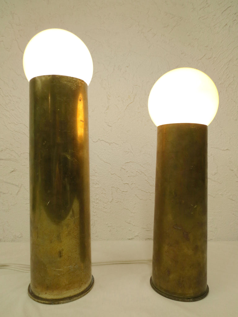 "Pair of Brass Trench Art Lamps 11"" and 14"", Vintage 1944-1955 Brass Shells"