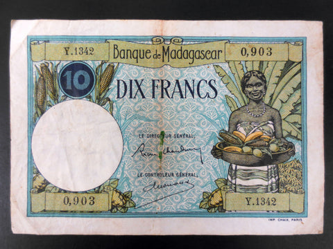 1937 Madagascar Banknote Money 10 Francs, 0,903, Y.1342, VF Condition