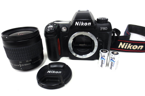 Nikon F80 35mm SLR Film Camera w/ AF Nikkor 28-80mm 1:3.3-5.6 G Lens + Batteries