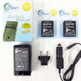 2 New NP-W126 Batteries, Charger, Car & EU Adapters for Fujifilm Finepix HS30 33 35 50 EXR Cameras