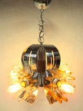 "Vintage Mid Century Brutalist Chrome Ceiling Light Chandelier 26"", Wood, Glass Flowers"
