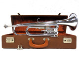 Vintage Ludwig Germany Trumpet Bugle in G, 2 Valves, 2 Water Keys, Case and Keys