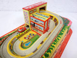 Vintage Wind-Up Car Elevator and Track, Shell Service Station, Technofix Germany