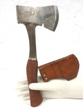 Vintage 1950 Axe Tool from West Germany, Drop Forged Steel, Leather Sheath