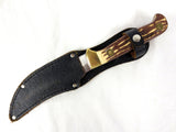 "Vintage Stag Horn and Brass Knife 9.5"" Olympia Japan, Leather Sheath"