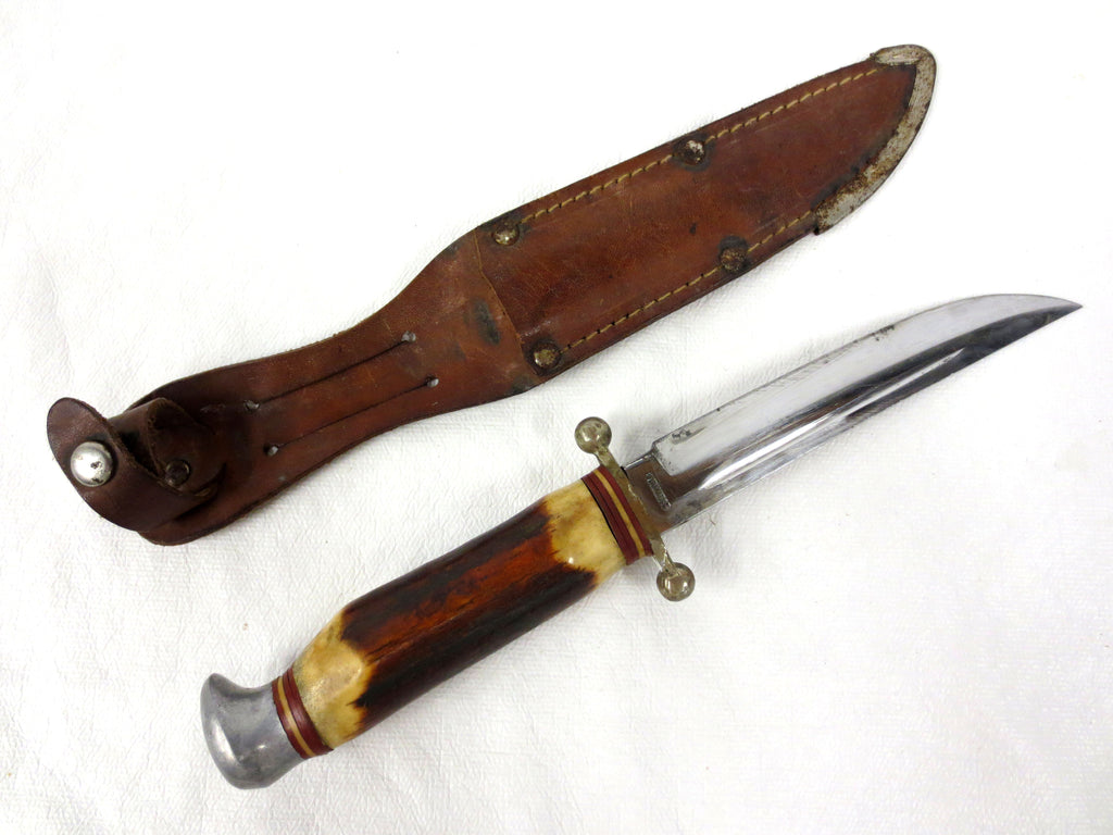 "Vintage Stag Horn Knife 9"" Solingen Gutmann Germany, Sheath, Ball Tip Quillons"