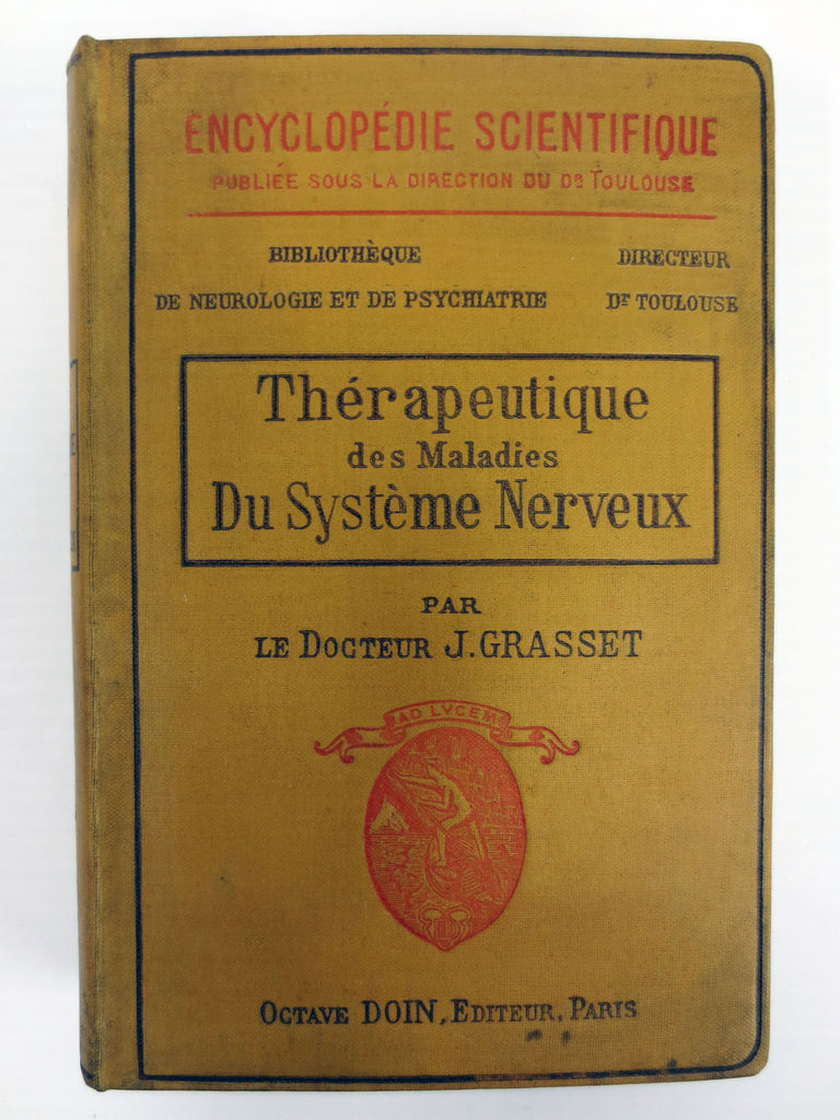 Antique 1907 Neurology Medical Book, Nervous System Therapeutics. Grasset, Paris