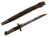 "Antique 1907 Wilkinson Bayonet 14"", Leather Scabbard with Chape, 5 and 18 Marks"