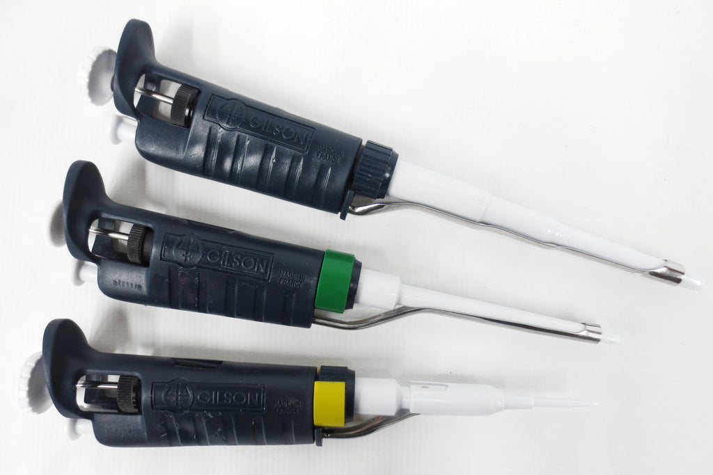 Gilson Pipetman Set of 3 Pipette Pipettor Pipet Variable P2 P200 and P1000 µL