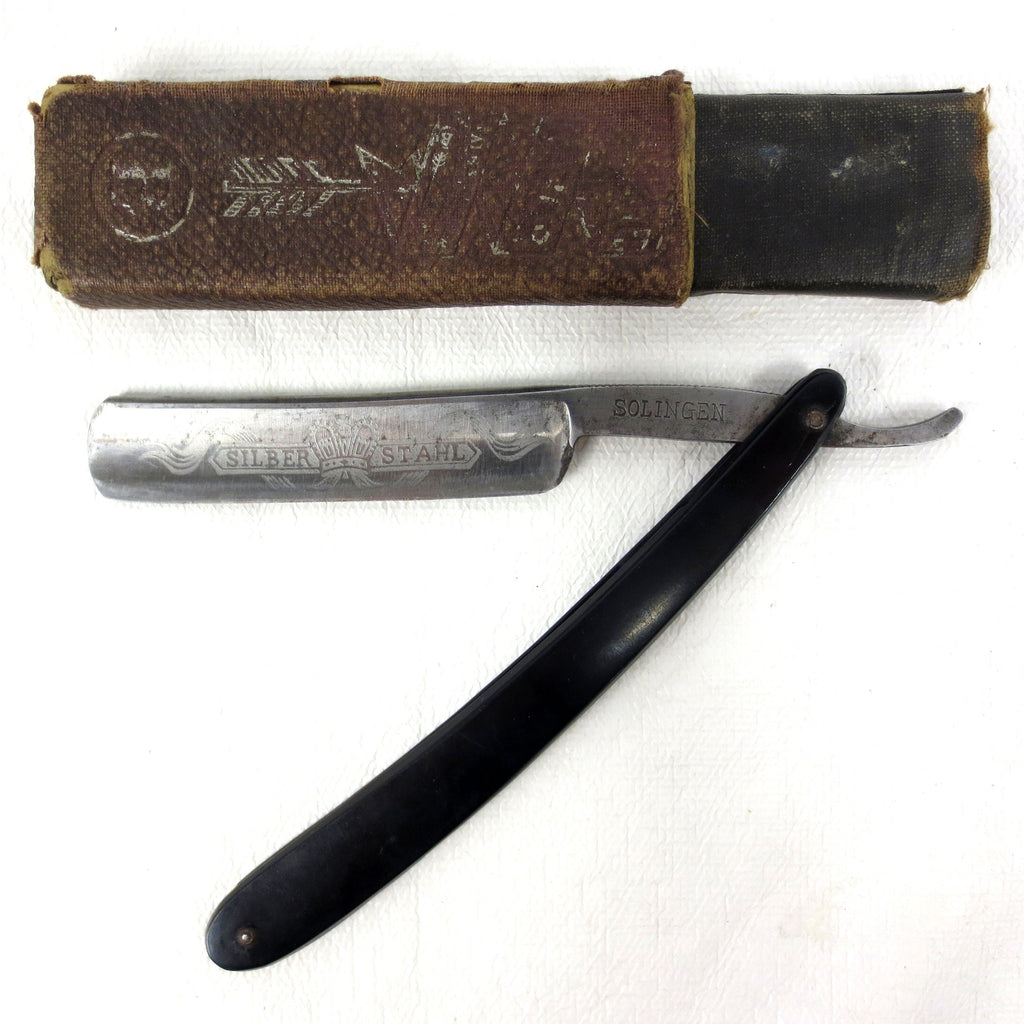 "Vintage Silber Stahl Solingen Straight Razor 9"" Germany, Arrows, Box"