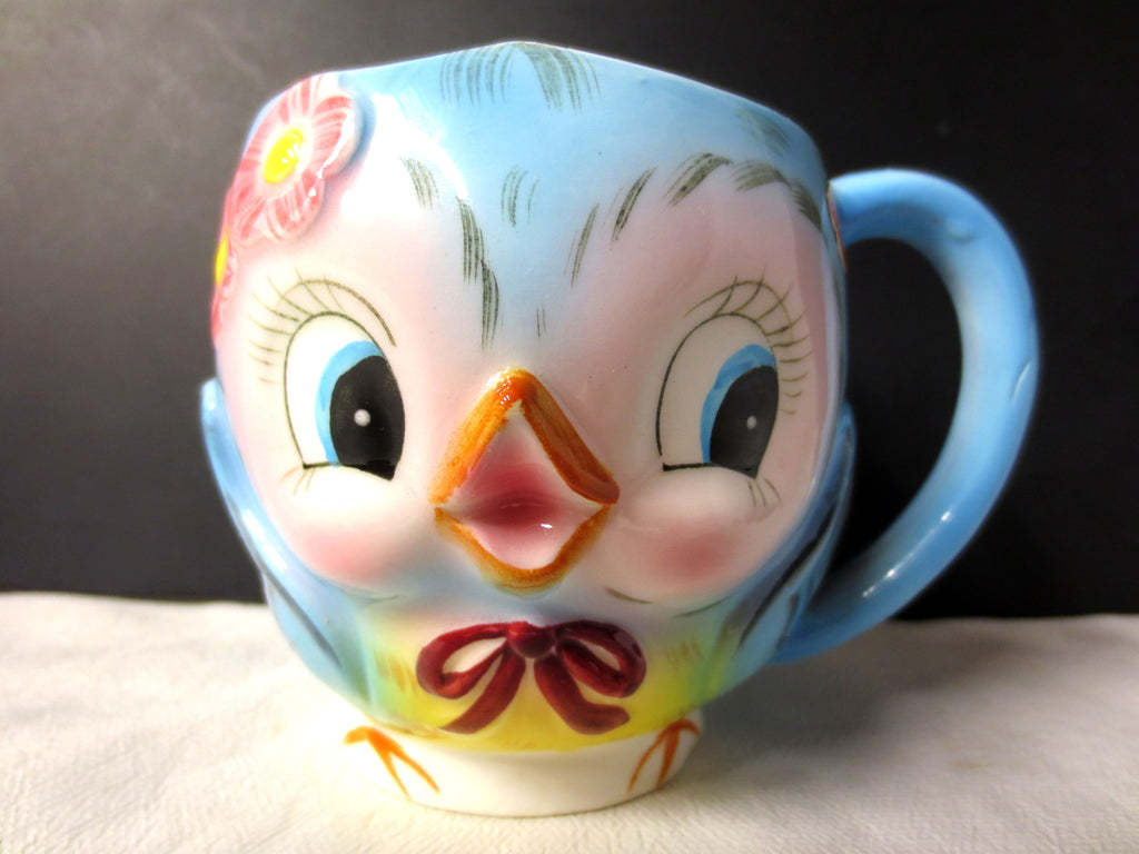 Vintage Lefton Bluebird Cup ESD Japan 7230, 1950's Rare Children Bluebird Mug