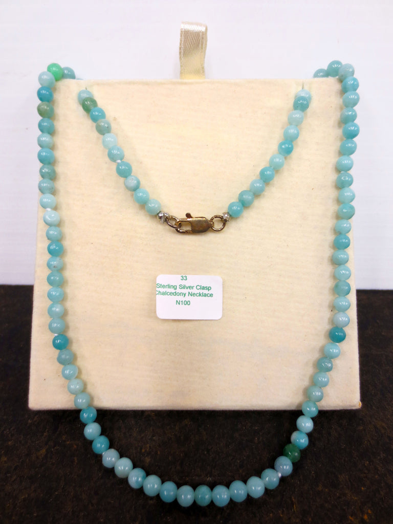 "16"" Natural Chalcedony Necklace, Turquoise Beads, Sterling Silver Clasp, Never W"