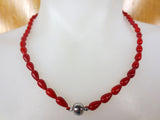 "18"" Red Coral Necklace, Red Teardrops Beads, Magnetic Clasp, Never Worn"