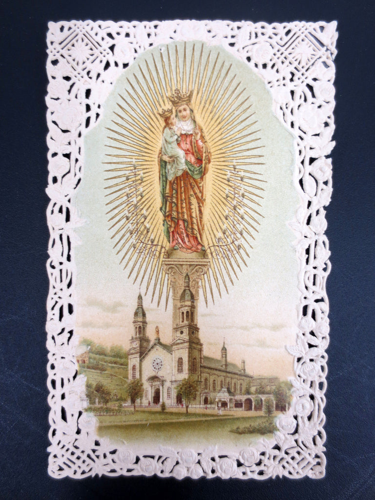 Antique Holy Card Lace Canivet, Indulgenced Prayer to St. Anne, Pope Leon XIII