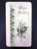 Antique Christmas Holy Card France 2 pages Bouasse-Lebel Paris Year of Happiness