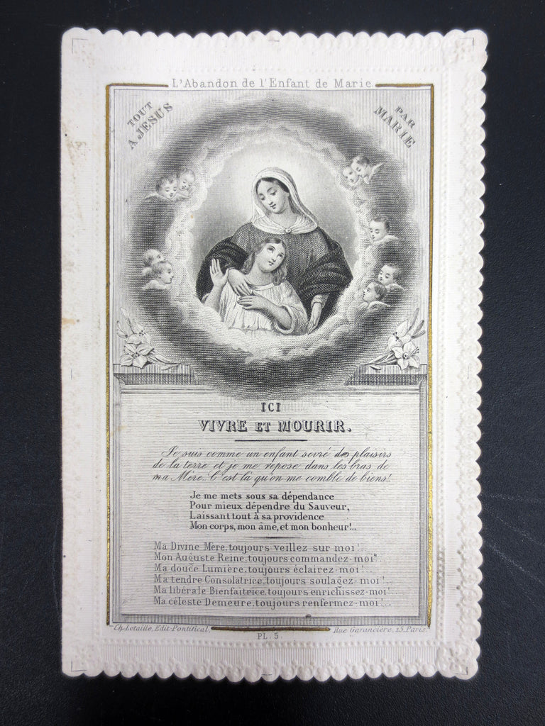 Antique Holy Card Lace Canivet by Letaille Paris, Abandoning the Child of Mary,