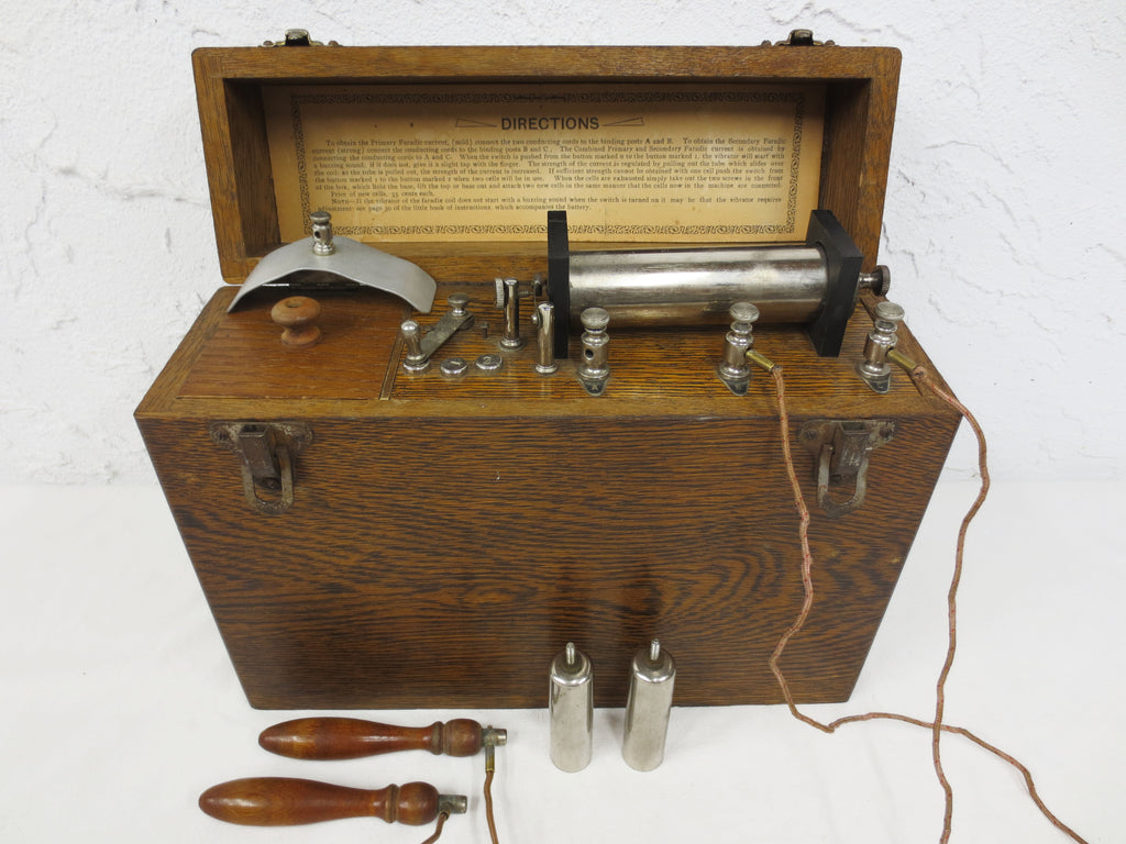 Antique Electroshock Therapy Medical Machine, Electric Shock Device Instructions