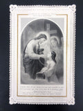 Antique Holy Card Lace Canivet by Letaille Boumard Paris, Divine love is like a