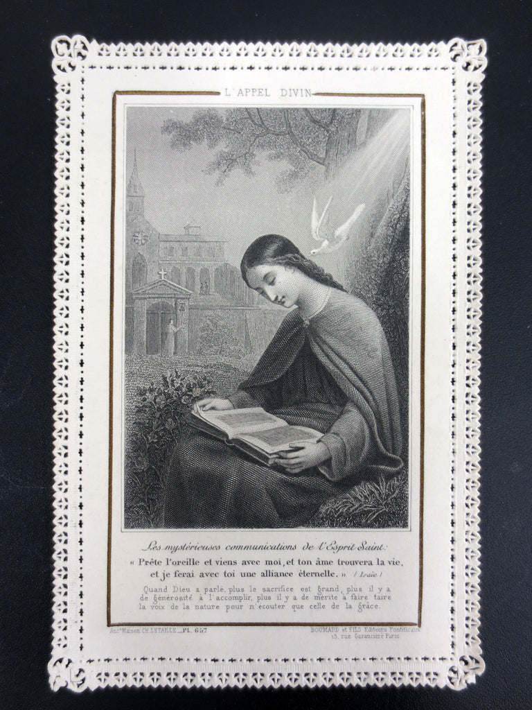 Antique Holy Card Lace Canivet by Letaille Boumard Paris, Mysterious Holy Spirit